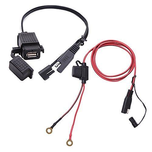 MICTUNING Cavo di SAE a USB 2.1A Impermeabile + Caricabatteria Adattatore SAE di Scollegamento Rapido con Fusibile Incorporato per Moto per Cellulari Tablet GPS ECC.