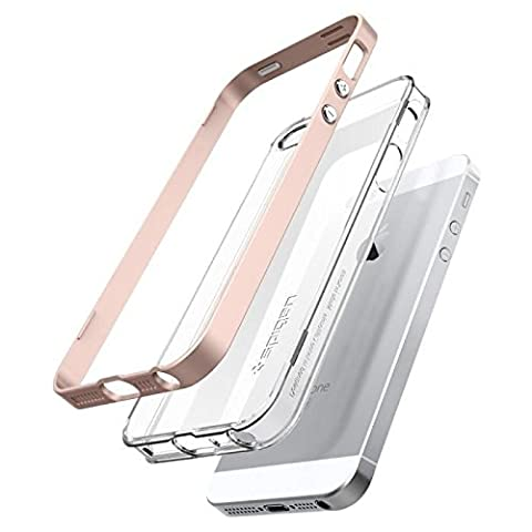 iPhone SE Hülle, Spigen® iPhone 5S/5/SE Hülle [Neo Hybrid Crystal] Dual-Layer Schutzrahmen [Rose Gold] Metallisierte tasten / Durchsichtige und transparente TPU Schale + PC Farbenrahmen Schutzhülle für iPhone SE/5S/5 Case, iPhone SE/5S/5 Cover - Rose Gold (041CS20183)