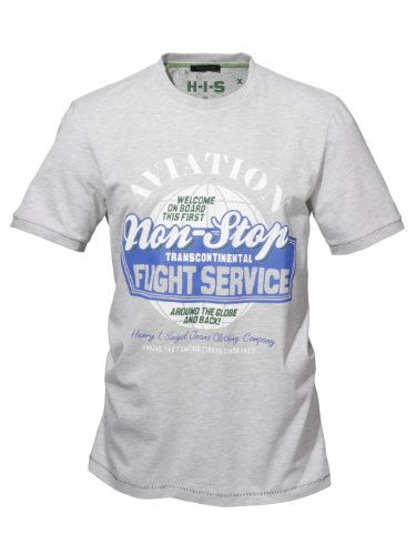 H.I.S Herren Shirt Nation 9013;warm grey melange 9013;warm grey melange