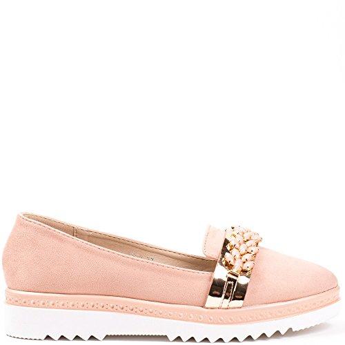 Ideal Shoes Mocassins Effet Daim avec Lanière Vernie recouvert de Strass Jamelia Rose