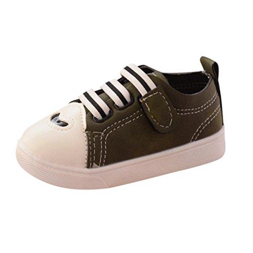 Turnschuhe Kinder,Sannysis Kleinkind Kinder Skate Laufschuhe Babyschuhe Jungen Mädchen Streifen Weiche Sohle Schuhe Mokassin Comfort Oxford Freizeitschuhe Halbschuhe (22, Grün) (Comfort Oxford)