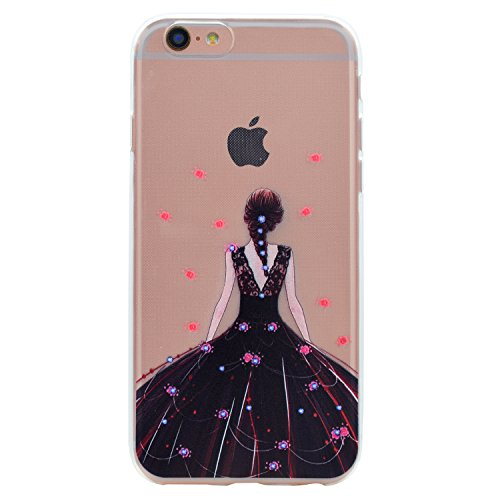 Apple iPhone 6 4.7 Hülle, Voguecase Silikon Schutzhülle / Case / Cover / Hülle / TPU Gel Skin für Apple iPhone 6/6S 4.7(Schwarzes Kleid Mädchen 01) + Gratis Universal Eingabestift Schwarzes Kleid Mädchen 01