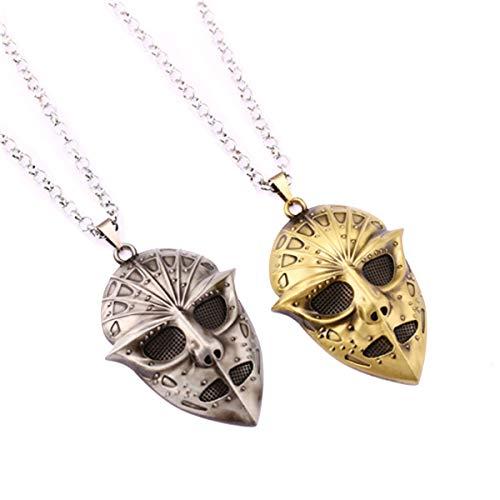 Baoleiju Halskette Anhänger Maske World of Warcraft mit Schmuckkästchen World of Warcraft Halskette für Mädchen grau (World Of Warcraft-masken)