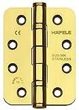JUVA Türscharnier Edelstahl Messing poliert Aufschraubband abgerundet Startec DHB3221 für ungefälzte Innentüren | Tragkraft bis 120 kg | 1 Stück - Scharnier mit Schrauben