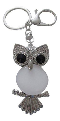 Gioielli di borsa, porta chiavi, motivo: gufo con pietra colore luna tipo opale.