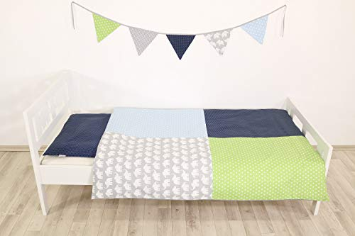 ULLENBOOM ® Kinderbettwäsche Elefant Blau Grün (2tlg. Bettset: Kissenbezug 40x60 cm & Bettdeckenbezug 100x135 cm, Kissen mit kleinen Punkten) -