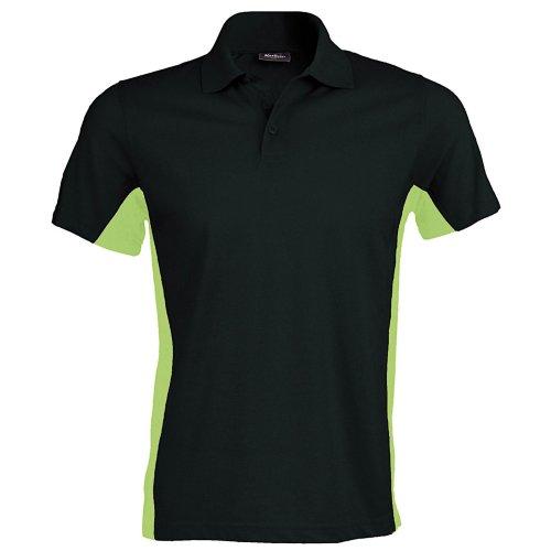 Kariban Herren Polo-Shirt Flag Schwarz/Limette