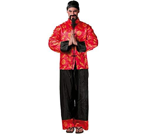 Chinese Kostüm - Mandarin Chinese - Kostüm für Herren Karneval Fasching Party China Kaiser Gr. M/L, Größe:L
