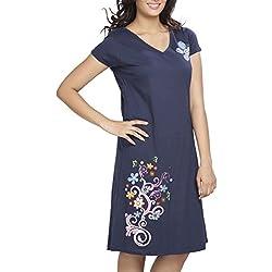 Clifton Womens Long Top Nightwear-Floral - Navy - Medium