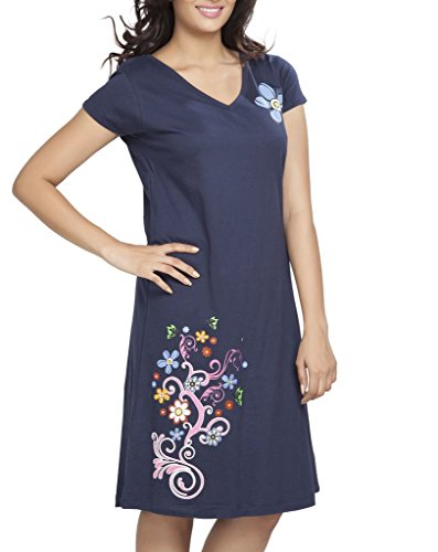 Clifton Womens Long Top Nightwear-Floral - Navy - Medium