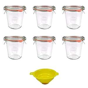 Viva Haushaltswaren 6 x kleines Weckglas/Einmachglas 290 ml mit Deckel in Sturzform, leeres Rundrandglas zum Einkochen - als Marmeladenglas, Dessertglas (inkl. Klammern, Ringen & Trichter)