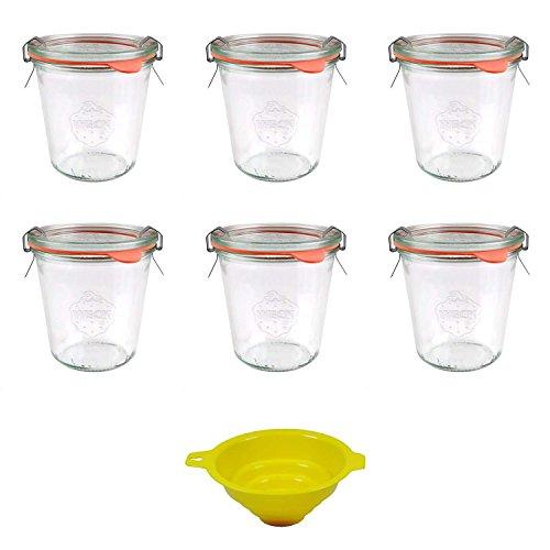 Viva Haushaltswaren - 6 x kleines Weckglas/Einmachglas 290 ml mit Deckel in Sturzform, leeres Rundrandglas zum Einkochen - als Marmeladenglas, Dessertglas (inkl. Klammern, Ringen & Trichter)