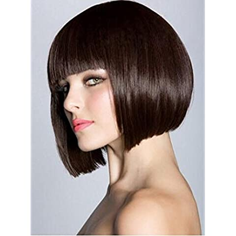 Meydlee Parrucche Moda Bobo corto dritto parrucca vino rosso/marrone parrucca con Neat Bang , brown