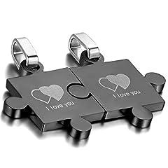 Idea Regalo - Oidea Collana per Coppia Lovers Collana in Acciaio Inox con Pendente Puzzle Cuore I Love You Romantico Regalo per Amante Matrimonio Anniversario Nero(1 Coppia)