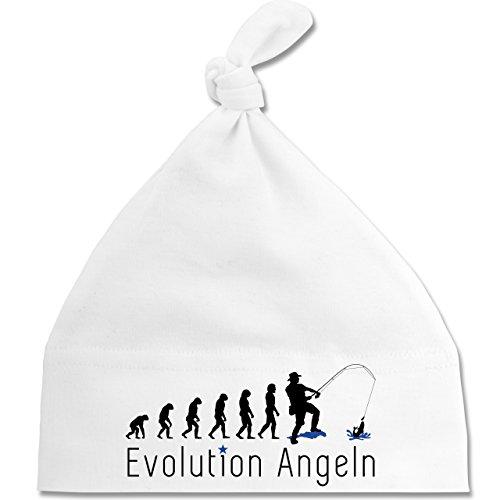 Shirtracer Evolution Baby - Angler Evolution - Unisize - Weiß - BZ15 - Baby Mütze mit einfachem Knoten als Geschenkidee