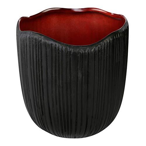PTMD Ted Pot de Fleurs décoratif en céramique Intérieur Rouge Extérieur Noir Dimensions : 17,0 x 16,0 x 16,0 x 16,0 cm