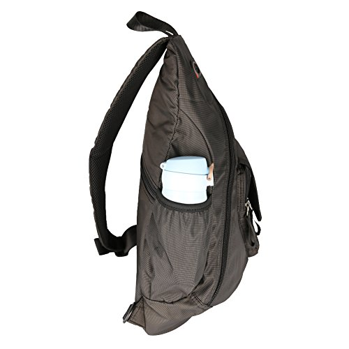 Vanlison cinturino in nylon Sling bag zaino a tracolla 33cm 14laptop borsa a tracolla da viaggio nero nero Black Medium Black