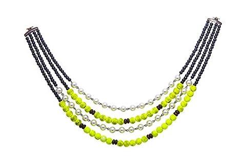 sempre Londres européenne Collection 4brins–Collier Femme–Perle–Perle Plaqué Argent Vieilli 18ct avec chaîne pour collier pour femme