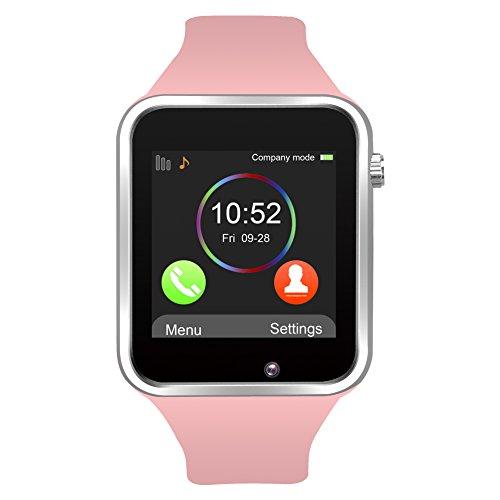 Kivors Reloj Inteligente A1 Bluetooth Smartwatch con TF / Ranura de Tarjeta SIM para Usar Como Teléfono Móvil con Rastreador de Actividad Podómetro Inteligente Sueño Notificación de SMS Compatible con Android (Rosa)