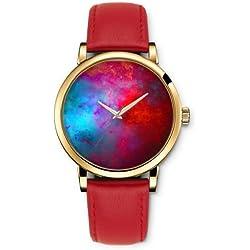 Uhr Armbanduhr Quarz Damen Analog iCreat Rot echte Leder Schnalle Schönes Zifferblatt