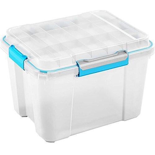 meilleur service 2b586 519fe Kis 8433000 0485 01 Boîte de Rangement Scuba Box 43 litres en  Transparent-Bleu, Plastique, 59,5x39x34 cm