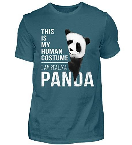 My Human Costume, I'm Really a Panda - In Wahrheit Bin ich EIN hinreissender Pandabär - Herren Shirt -L-Diva Blue (Super Diva Kostüm)