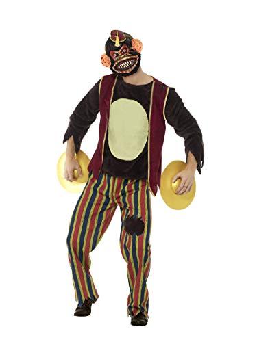 Smiffys Deluxe Herren Klatschender Spielaffe Kostüm, Oberteil, Hose, Maske und Becken, Größe: L, 45574