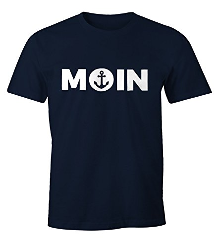 MoonWorks Cooles Herren T-Shirt Moin mit Anker Shirt Navy 3XL