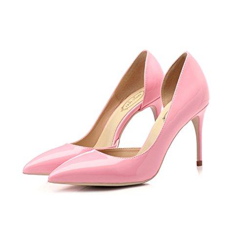 Escarpins YIXINY M388-3 Chaussures Femme PU+Caoutchouc Side Vide Pointu La Bouche Peu Profonde Talon Mince 8.5/10cm Talons Hauts Rose