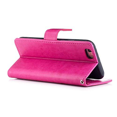 Etsue Leder Tasche Klapphülle für iPhone 7 Lederhülle Leder Flip Hülle Schutzhülle Handytasche Brieftasche Hülle, iPhone 7 Ledertasche Schädel Muster Vintage Handyhülle Lanyard Wallet Case Kartenfach  Schmetterling,Hot Pink