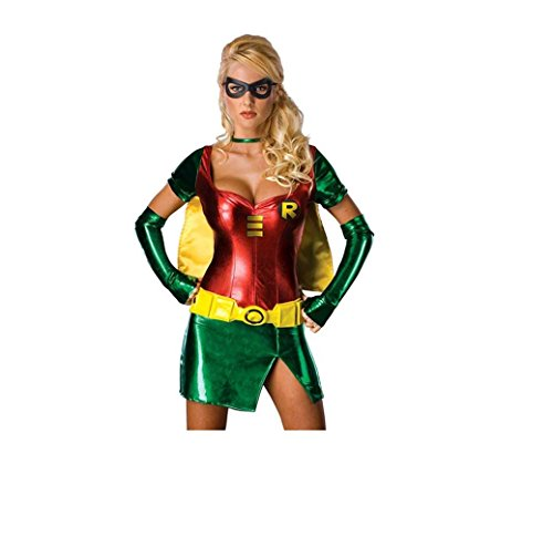 Robin Kostüm Red & Green Robin Carrie Kelley Metallic Superheld Kleid Zentai Female Frauen-Mädchen-Damen-Strampler ()