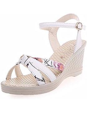 SDKIR-Sandali estivi, femmina confortevole a fondo piatto bianco marea pendenza con sandali a tacco alto scarpe...