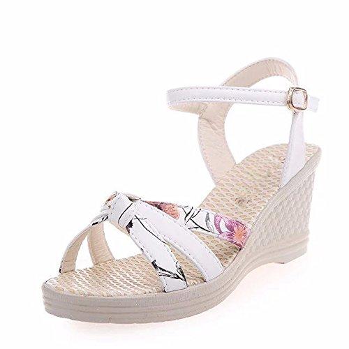 SDKIR Sommer Sandalen weiblichen Komfortable flache Unterseite tide weißen Hang mit Sandalette high-heel Schuhe ziehen Sie dann kalt Studenten 36 Weiß