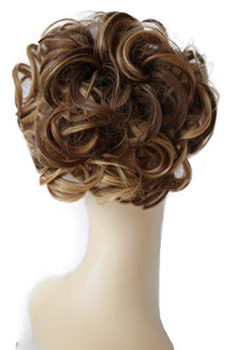 PRETTYSHOP Moño, Postizo, Trenza, Moño de estilo Hepburn, Coletero, Peinado alto rubia mezcla marrón #12H27 HK116
