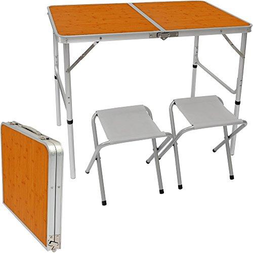 AMANKA klappbarer höhenverstellbarer Campingtisch 90x60x70 cm inkl. 2 Falthocker Campingtischset Kofferformat Bambus (Kinder Holz Picknick-tisch)