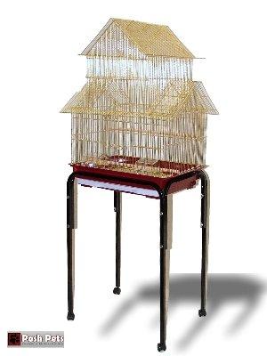 Gold Barcelona Pagode Vogelkäfig mit Ständer für kleine Vögel