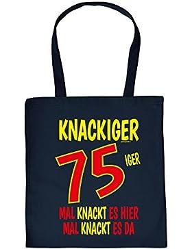 zum 75. Geburtstag Geschenk Stofftasche Knackiger 75iger Mal knackt es hier Mal knackt es da Baumwolltasche Geschenkidee...