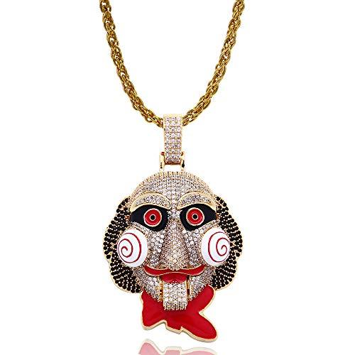 Grancey Hip-Hop Zirkon Charm Halskette für Männer Frauen Silber Gold Clown Anhänger Ice Out Roman Schmuck Kostüm - Roman Boy Kostüm