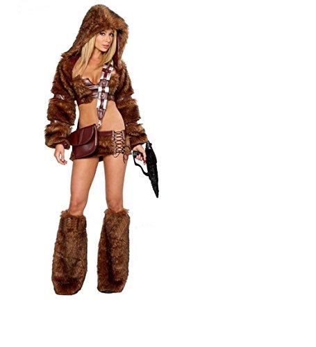 DLucc Halloween- Kleid neues braunes Fell Jäger Kleidung Siamese Kleid Cosplay Spielleistung Bekleidung
