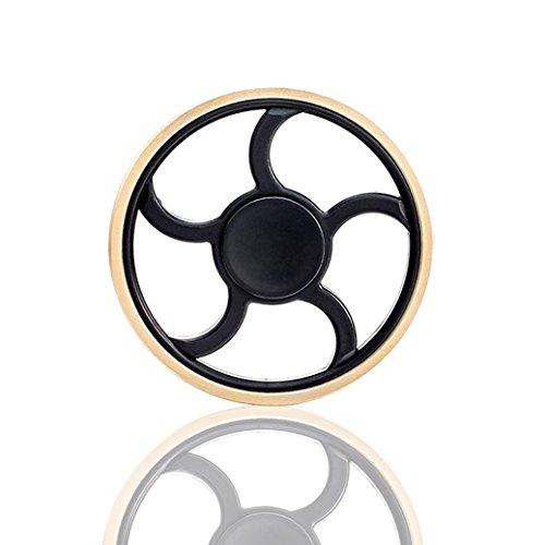 Spinner Mano AllDo Fidget Hand Spinner in Metallo Gyro di Decompressione Spinner Dito Rotonda Alta Velocità 1-3 Minuti Cuscinetto in Acciaio Inossidabile Giocattolo di Spinner Finger - Perfetto per ADD / ADHD / Ansia / Autismo e Alleviare lo Stress per i Bambini Adulti, Gadget per Ufficio - Dorata&Nero