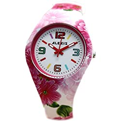 10fw922F PNP glänzend Silber Watchcase Silikon Pink Blume Band Unisex Alexis Fashion Armbanduhr