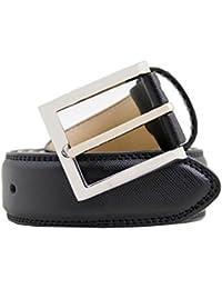 Homme 100 % cuir ceinture avec Grain & boucle argent, diverses couleurs & tailles