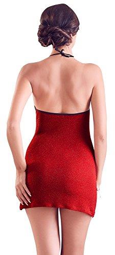 - 41en6hJz5nL - ORION Kleid – Minikleid für Frauen, erotisches Glitzerkleid mit Neckholder, sexy Partykleid zum Ausgehen oder Verführen, rot