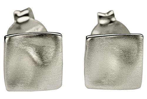 Orecchini da donna SILBERMOOS quadrato rettangolo ondulato piccolo argento Sterling 925 opaco