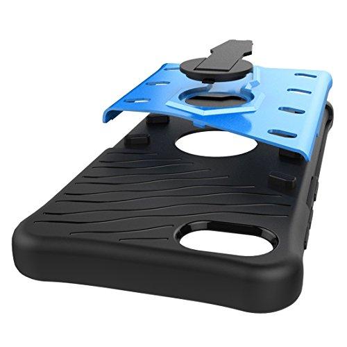 Schockresistent 360 Grad Spin Sniper Hybrid Case TPU + PC Kombietui mit Halter für Lenovo ZUK Z2 Plus by diebelleu ( Color : Silver ) Blue