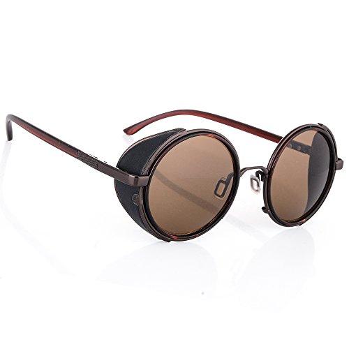 Occhiali da sole specchio occhiali rotondi retro vintage uomo dona rispecchiata sunglasses 100%uv400 mfaz morefaz ltd (brown)