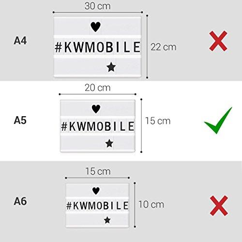 kwmobile cinema light box formato A5 - insegna luminosa con 126 lettere simboli numeri in nero - luci LED decorative - lampada cinematic lightbox - 6