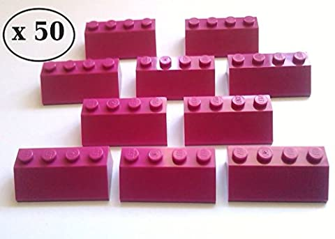 LEGO 50 x Magenta / Dark Pink Roof Tiles 2 x 4 Pin Slope 45° Item Number 3037- Brand New Taken From LEGO Friends Sets And Supplied By Bricks and Baseplates