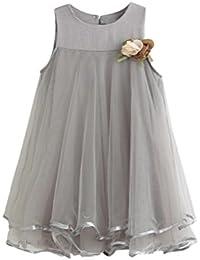Para 2–7años de edad de niñas, deloito Toddler gasa vestidos sin mangas plisado vestido con broche