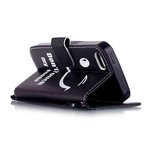 """Owbb Filp Housse Coque Étui en PU cuir protection pour iPhone 5/ 5S /5G / SE Smartphone-""""Warning"""" Color 01"""